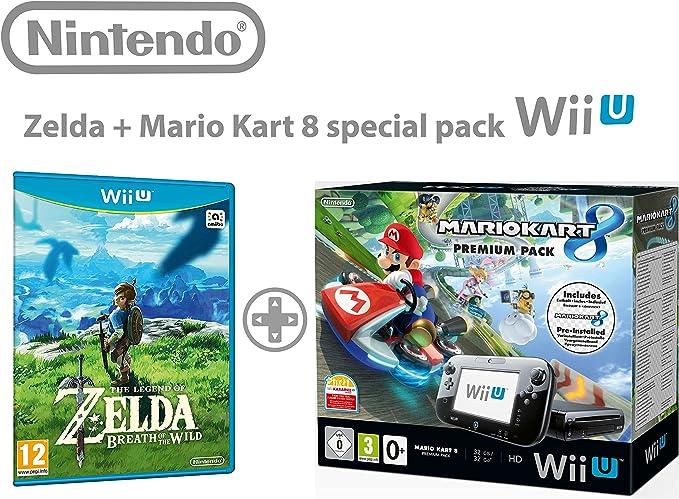 Nintendo Wii U consola Premium Pack 32GB + Mario Kart 8 + The Legend of Zelda: Breath Of the Wild: Amazon.es: Videojuegos