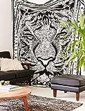 Neuf exclusif Tapisserie de main de Hamsa pour–par Raajsee, gris indien Mandala Décoration murale, Noir et Blanc, Tapisserie, hippie Décoration murale à suspendre, Bohemian Couvre-lit Taille 210* 230cms
