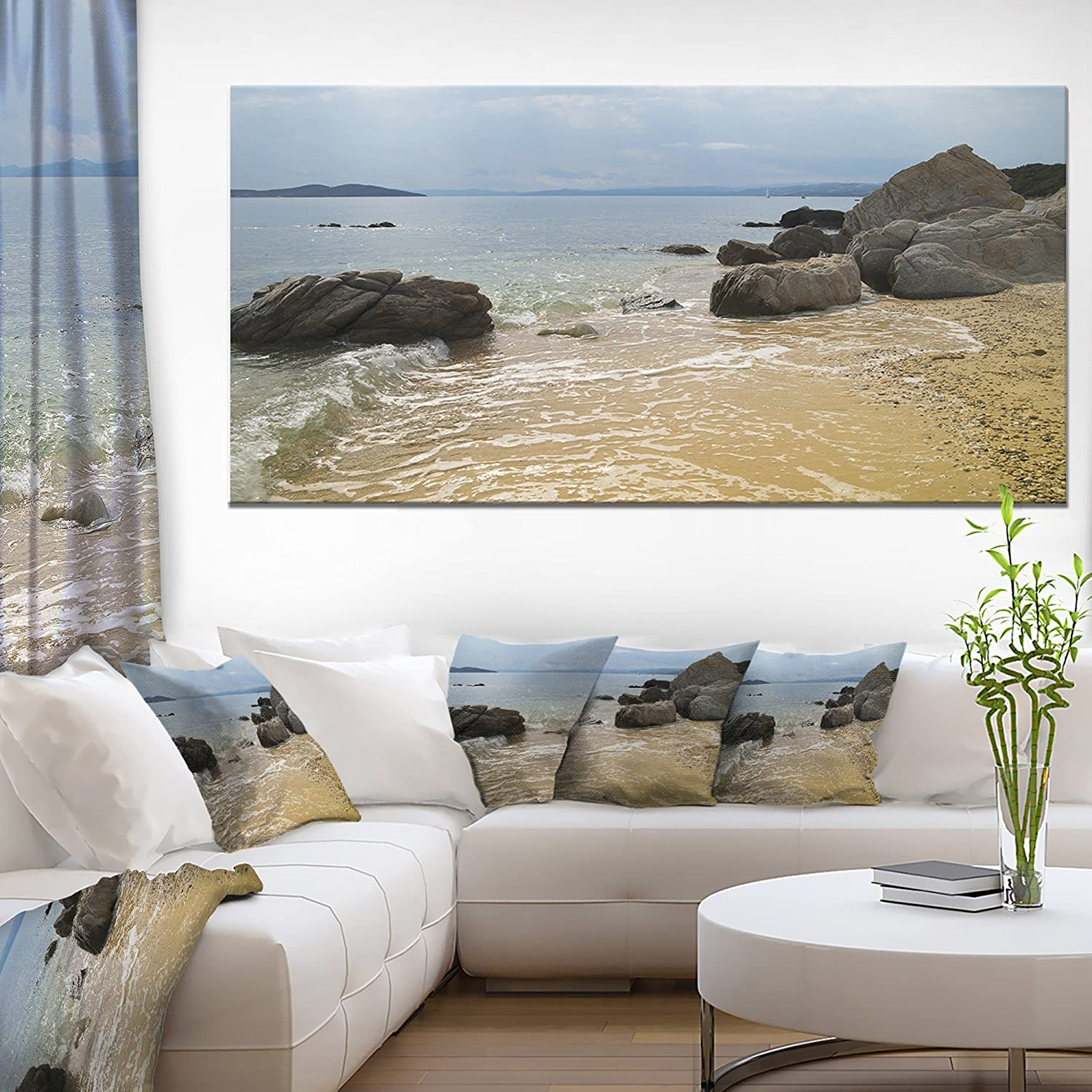 Designart Pt11147 60 28 Beautiful Sea View Of Rocky Coast Extra Large Seashore Canvas Art 60x28 1 Piece 28 X 60 X 2 Home Kitchen