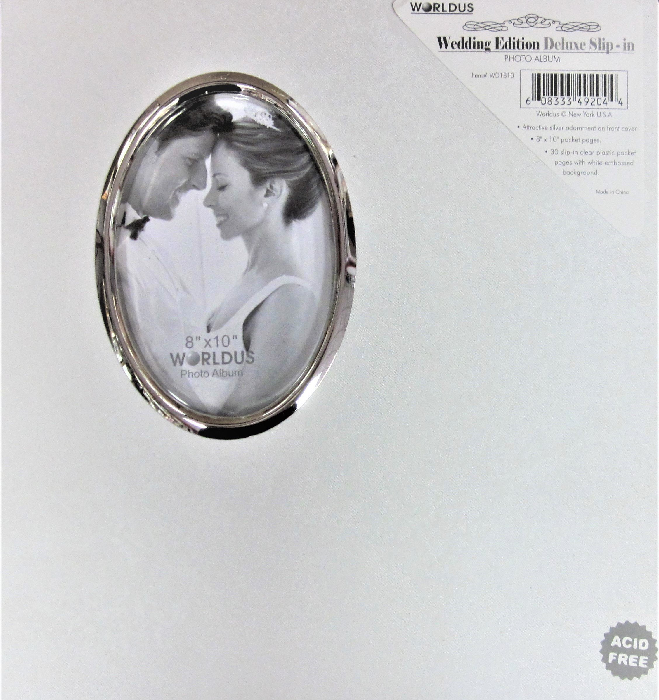 White Wedding Photo Album with Oval Opening on Cover- Holds 30 - 8x10 Photos by worldus