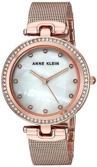Anne Klein para Mujer AK/2972mprg Cristal de Swarovski Acentuado con Rosa de Malla de Color Dorado Reloj De Pulsera: Amazon.es: Relojes