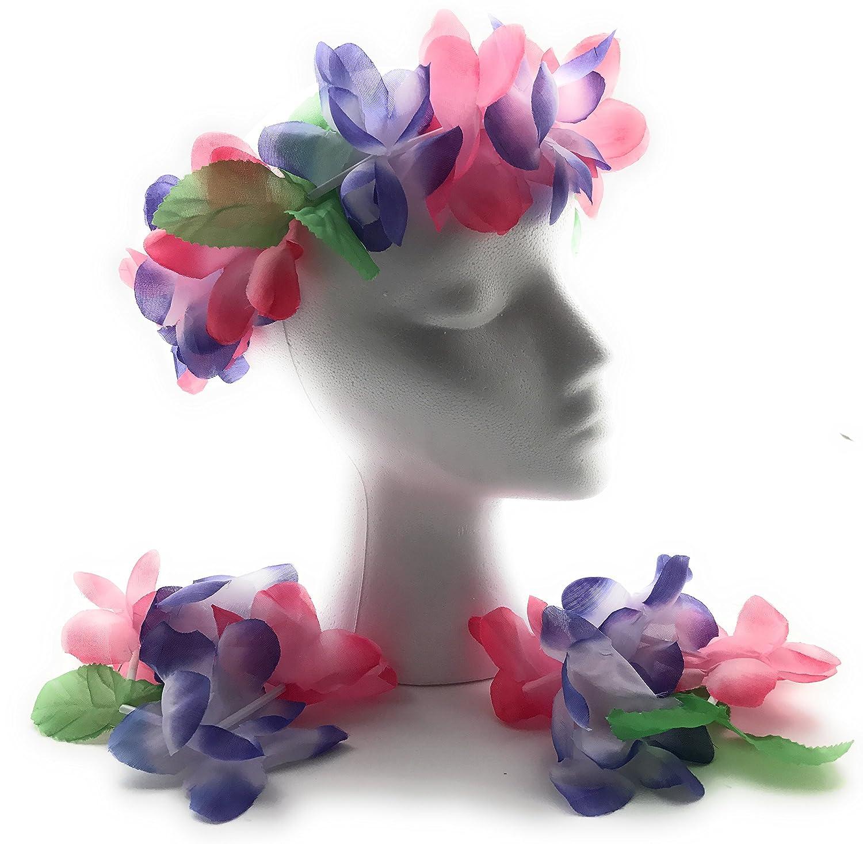 Amazon Mahalo Floral Leis Headband And Wrist Set Set Of 12