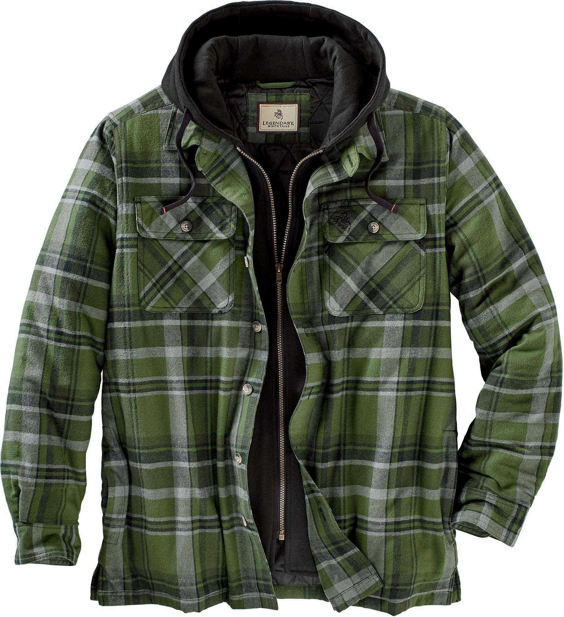 Legendary Whitetails Maplewood Hooded Shirt Jacket, Army Green Plaid, X-Large Tall by Legendary Whitetails