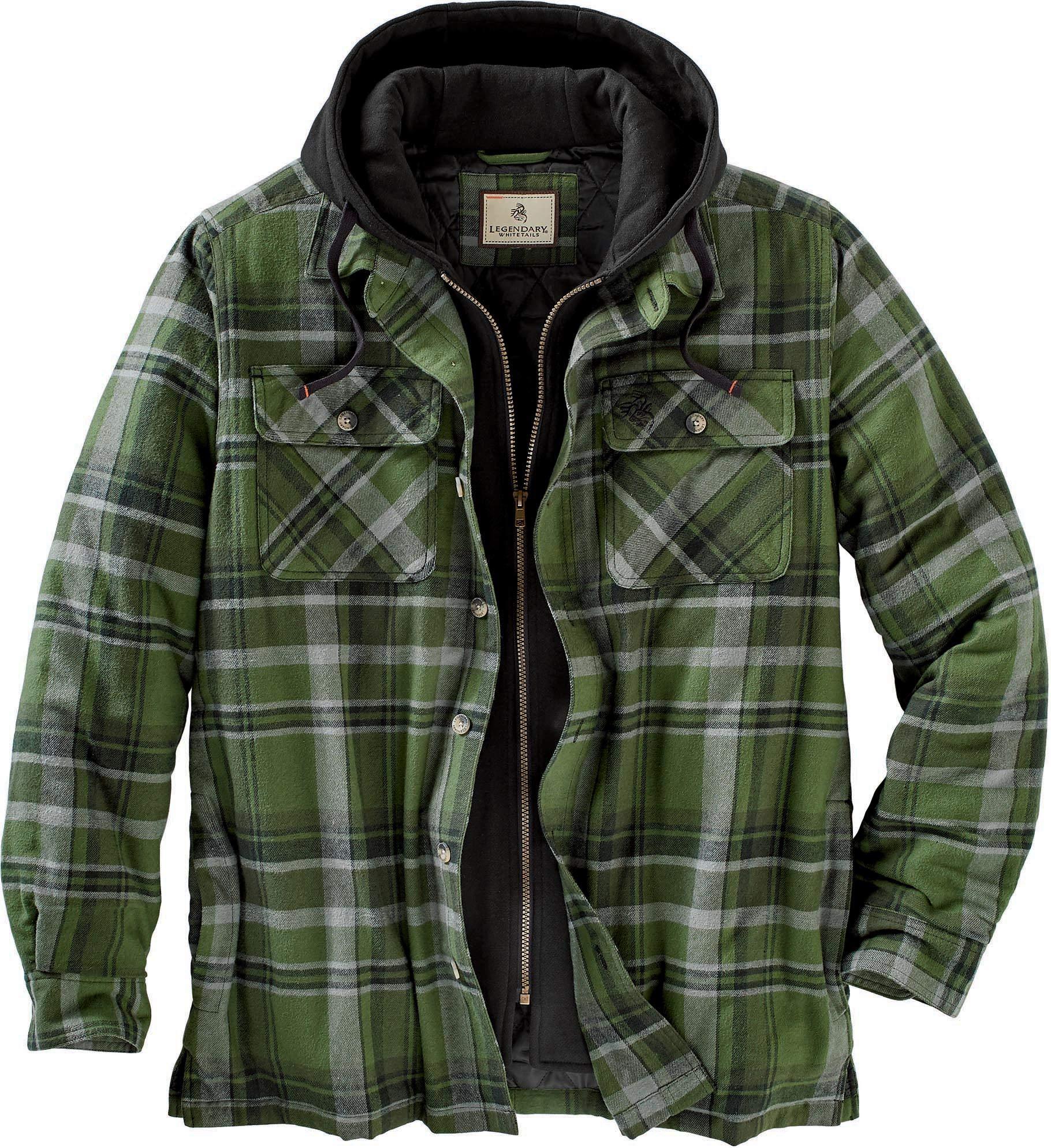 Legendary Whitetails Maplewood Hooded Shirt Jacket, Army Green Plaid, Large by Legendary Whitetails