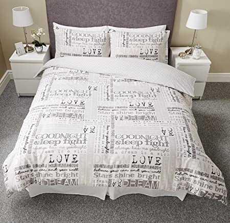 Copripiumino Matrimoniale Love.Luxury Love Con Citazioni Con Scritte Dream Calligraphy Set