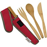 Bamboo Travel Utensils - To-Go Ware Utensil Set with Carrying Case (Cayenne)
