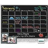 CONNECT Magnetic Refrigerator Calendar Dry Erase Board Black Chalkboard Monthly Planner + 2 Photo Frames Vintage Kitchen Fridge Design
