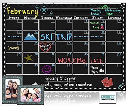 Amazon.com : CONNECT Magnetic Refrigerator Calendar Dry Erase Board ...