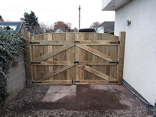 Puertas de entrada de madera maciza de lujo para jardín, hechas a medida tratadas a presión 6FT HIGH X 8FT 6INCH WIDE: Amazon.es: Hogar