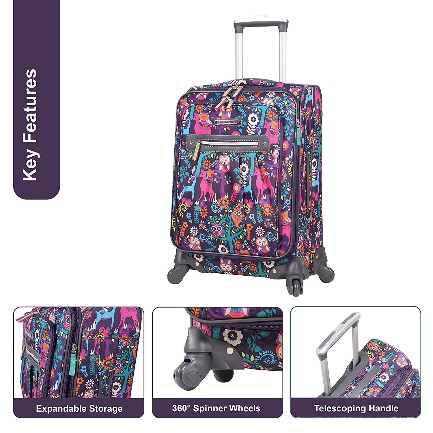 Lily Bloom Luggage Set 4 Piece Suitcase Collection With Spinner Wheels For Woman Wildwoods