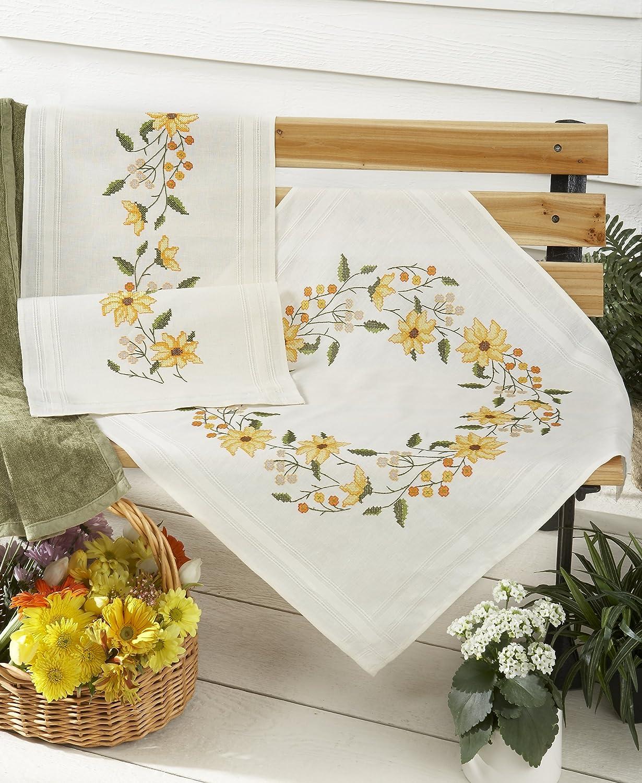 Kamaca Stickpackung SONNENSCHEIN Kreuzstich vorgezeichnet aus 100/% Baumwolle Mitteldecke 80 x 80 zum Selbersticken