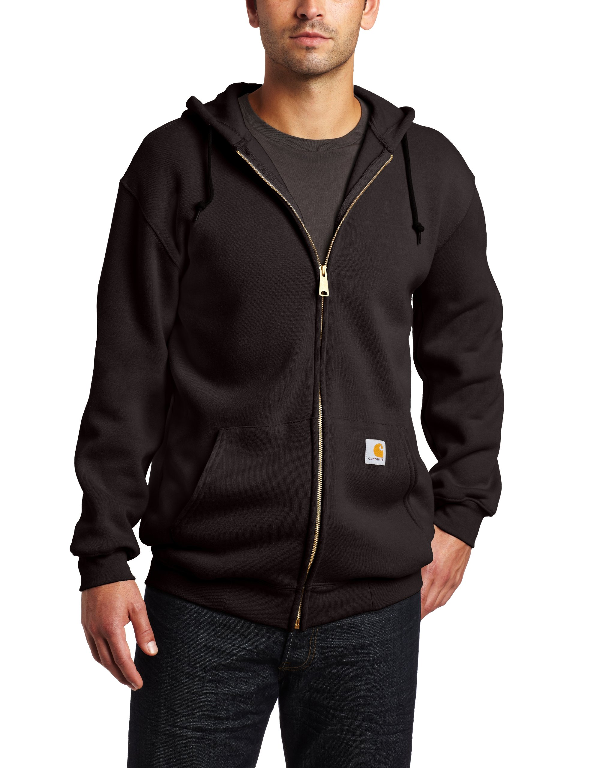 Carhartt Men's Big & Tall Midweight Sweatshirt Hooded Zip Front Original Fit K122,Black,XX-Large Tall by Carhartt