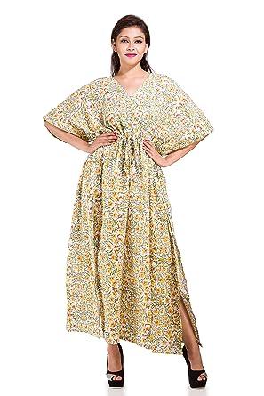 2782f0d4c1c Image Unavailable. Image not available for. Color  Women Tunic Bohemian Floral  Kaftan Long Indian Caftan Plus Size Beach ...