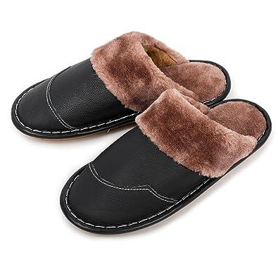 ff811b48aaeb Haisum Mann Winter echtes Leder Pantoffel, Warmer Webpelz Futter Pl¨¹sch  Pantoletten Pantoffel,