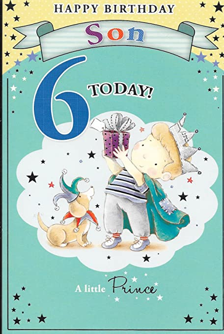Feliz cumpleaños hijo 6 hoy tarjeta, seis, perro tema, 6 x 9 ...