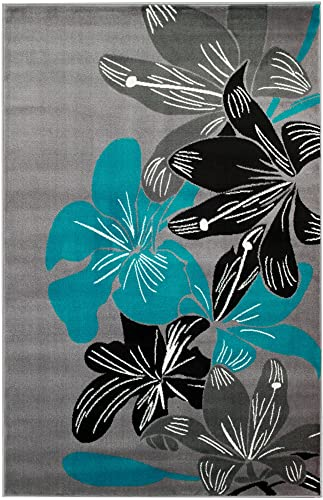 Summit 36 New Grey Torquoise Area Rug Modern Abstract Many Sizes Available , 22 INCH X 7 FOOT HALLWAY RUNNER