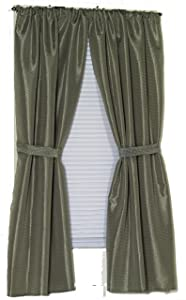 Carnation Home Fashions Lauren Dobby Fabric Bathroom Window Curtain, 34-Inch by 54-Inch, Sage
