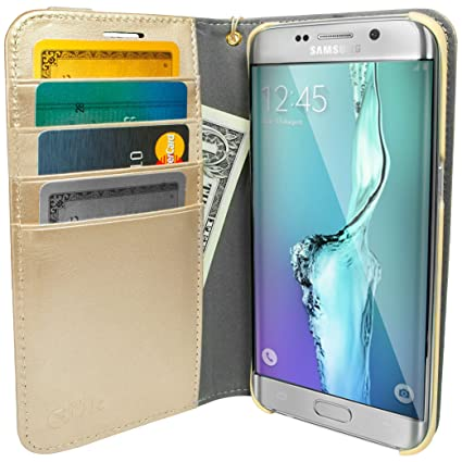 huge selection of 3c325 b9c75 Galaxy S7 Edge Wallet Case - Folio Wallet Case Galaxy S7 Edge Silk -  Protective Portfolio Cover Foldable Kickstand (Platinum Gold)