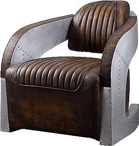 ACME Furniture Brancaster Chair, Vintage Mocha Top Grain Leather