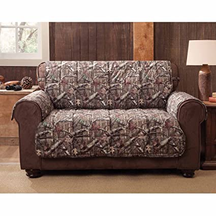 MN 1 Piece Grey Brown Hunting Theme Love Sofa Protector, Camouflage Cabin Lodge  House Hunt