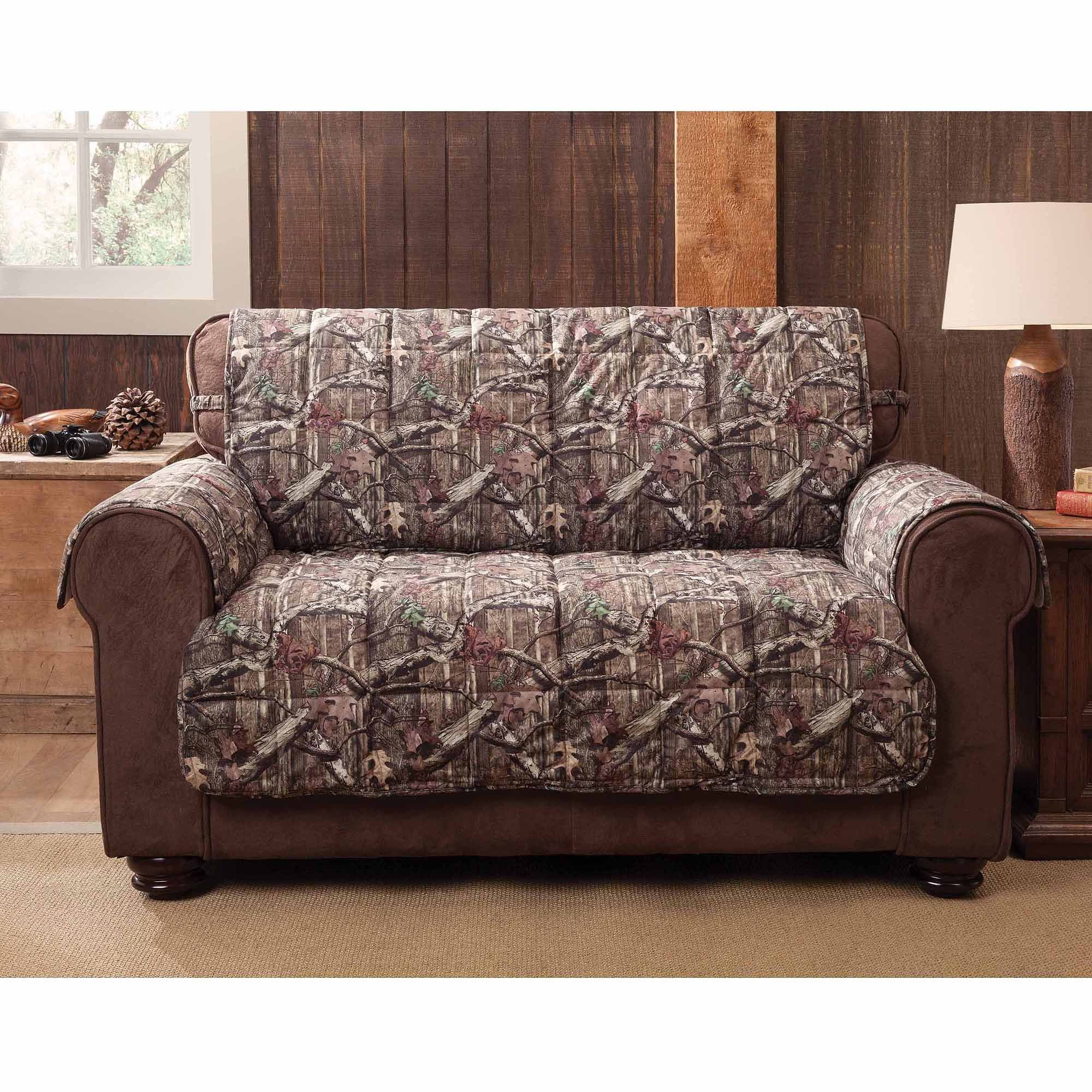 MN 1 Piece Grey Brown Hunting Theme Love Sofa Protector, Camouflage Cabin Lodge House Hunt Camo Pattern Woods Cottage Tree Branches Furniture Protection Cover Pets Animals Covers, Polyester