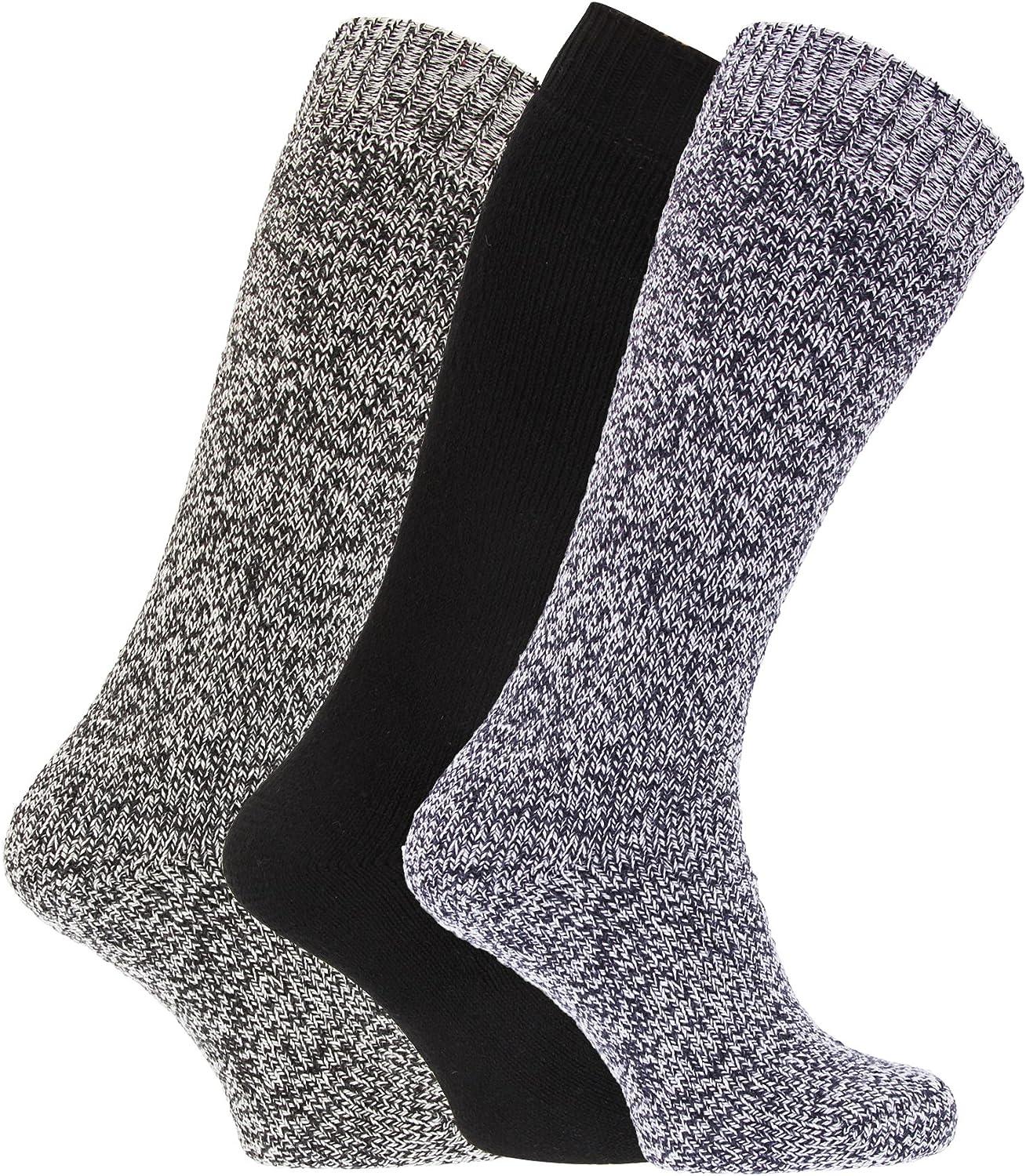 MB147 Pack Of 3 Mens Thermal Wool Blend Long Wellington Boot Socks