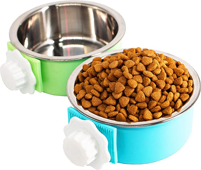 REOUITA 2 Pack Crate Dog Bowl, Removable & Stainless Steel Kennel Water Bowl Hanging Pet Cage Bowl Food and Water Feeder Coop Cup for Puppy Medium Dogs Birds Ferret Cat