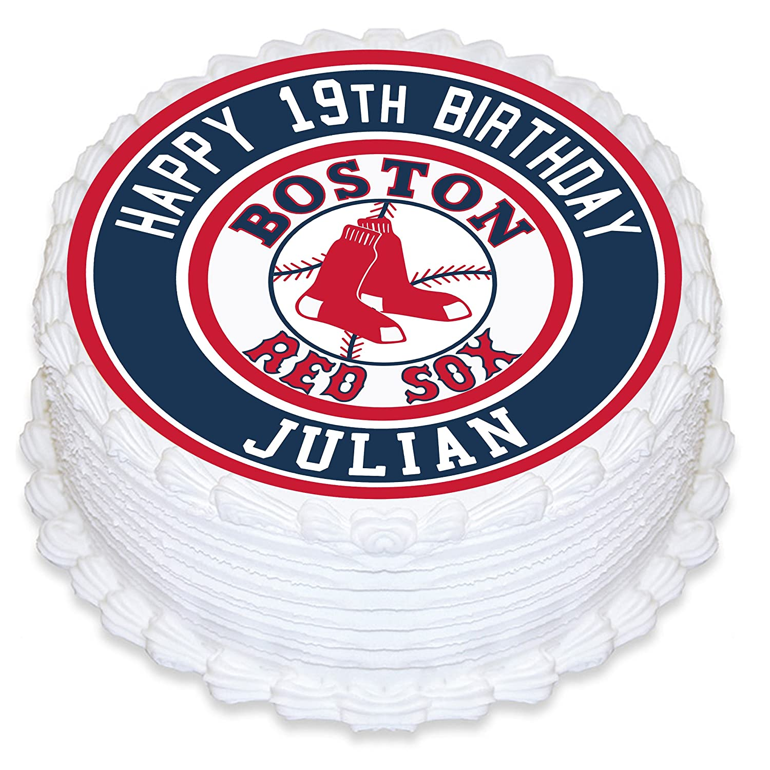 Boston Red Sox Edible Image Cake Topper Personalized Birthday 8 Round Circle Decoration Custom Sheet Party Sugar Frosting Transfer Fondant