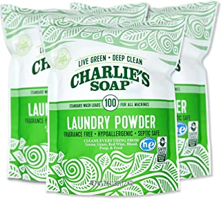 product image for Charlie's Soap Laundry Powder (100 Loads, 3 Pack) Hypoallergenic Deep Cleaning Washing Powder Detergent – Eco-Friendly, Safe, and Effective