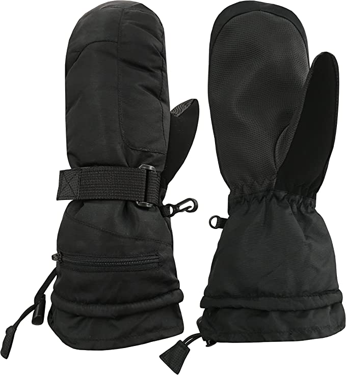 NIce Caps Unisex Adult High Performance Breathable Ski Mitten Womens Large//X-Large, Black solid