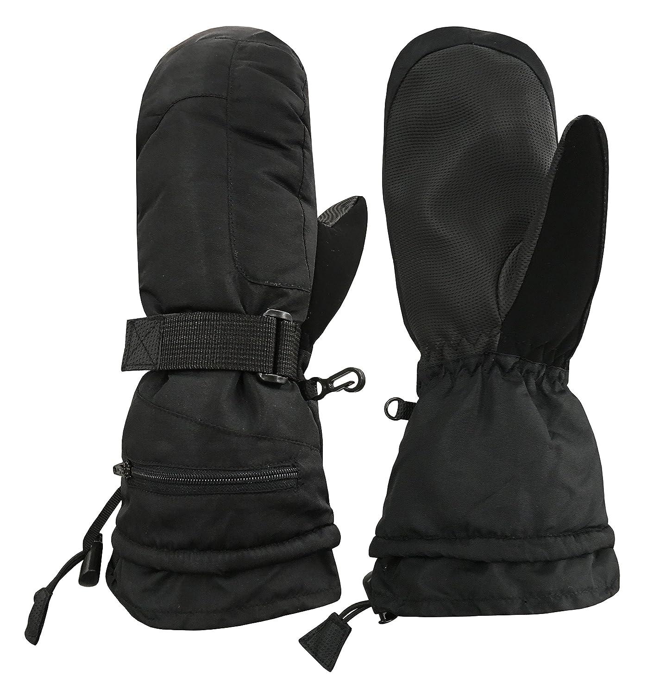 N'Ice Caps Unisex Adult 100 Gram Thinsulate Waterproof Winter Ski Mitten or Glove (Black Gloves, Men's Large/X-Large) Men's Large/X-Large)