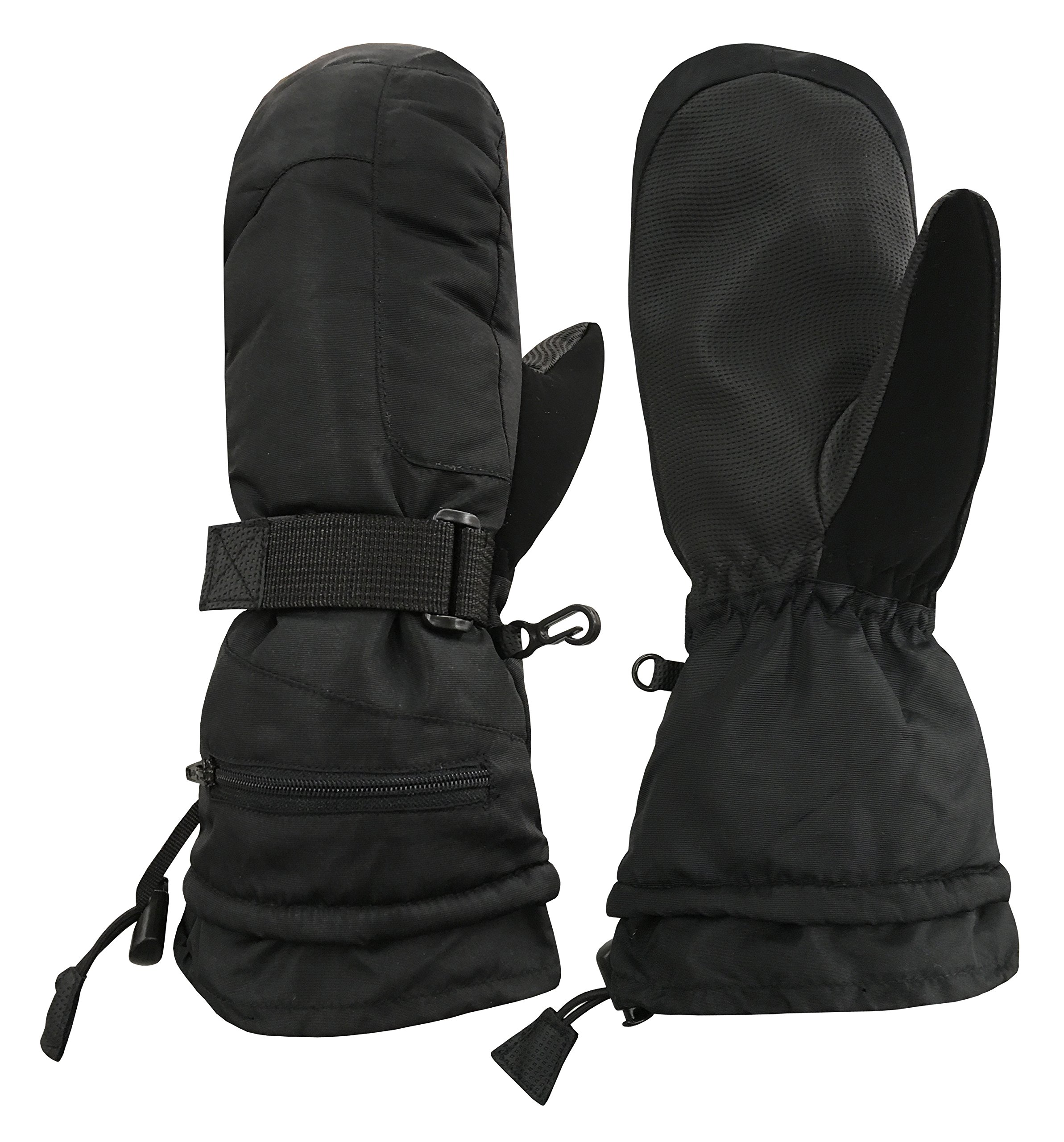 N'Ice Caps Unisex Adult High Performance Breathable Ski Mitten (Men's Large/X-Large, Black solid)