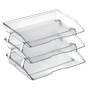 Acrimet Facility 3 Tier Letter Tray Side Load Plastic Desktop File Organizer (Clear Crystal Color)