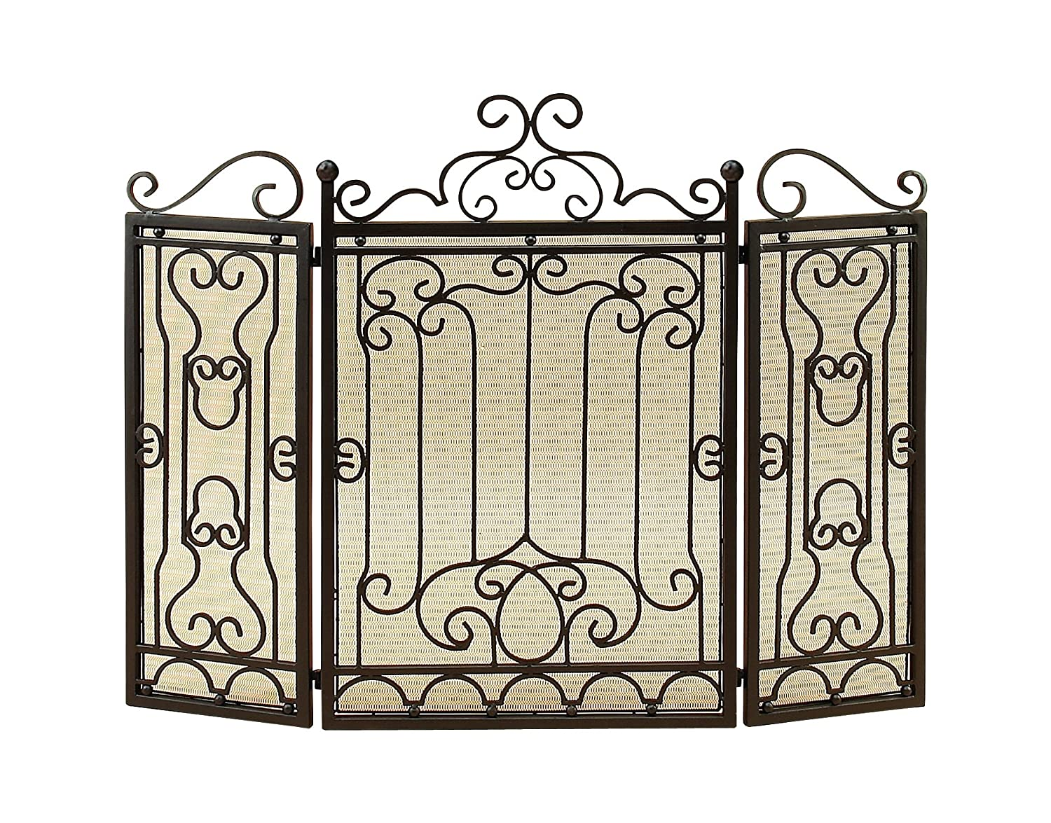 Deco 79 90569 Metal Fire Screen for Complete Safety at Fire Place Benzara