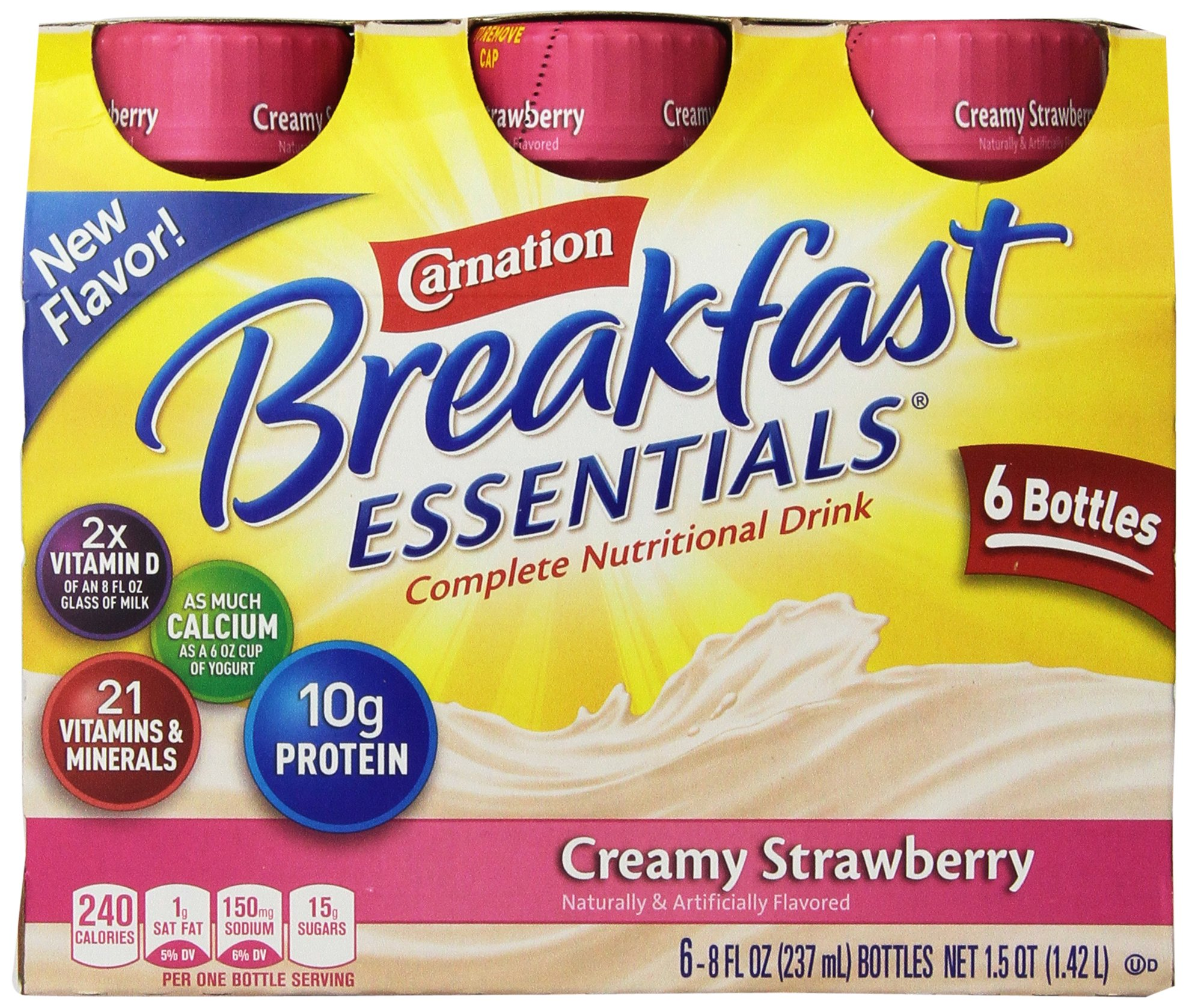 Carnation Breakfast Essentials Ready to Drink, Strawberry, 8 Fluid Ounce (Pack of 24) by Carnation Breakfast Essentials