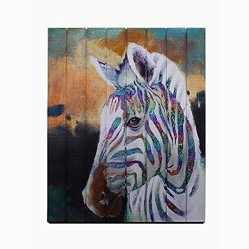 Creative Horse Painting Modern Animal Artwork Wall Art Zebra Prints On Ribbon Bedroom Hallway Home Decor Unframed Original Creation Wood Framed Ready