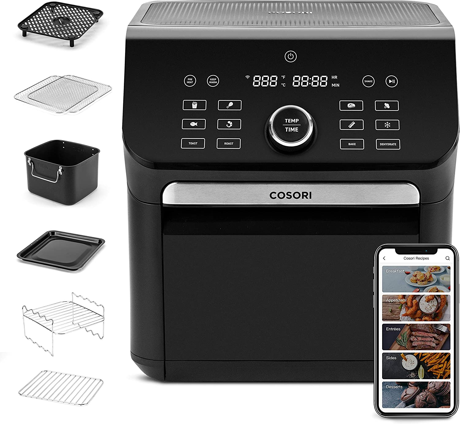 COSORI 14-in-1 Smart Large Air Fryer Oven XL 7QT with 6 Accessories, Wi-Fi App & Alexa Control/Google home, 12 Presets & Shake Reminder, Keep Warm Preheat, Memory function, 1800W, Black (Renewed)