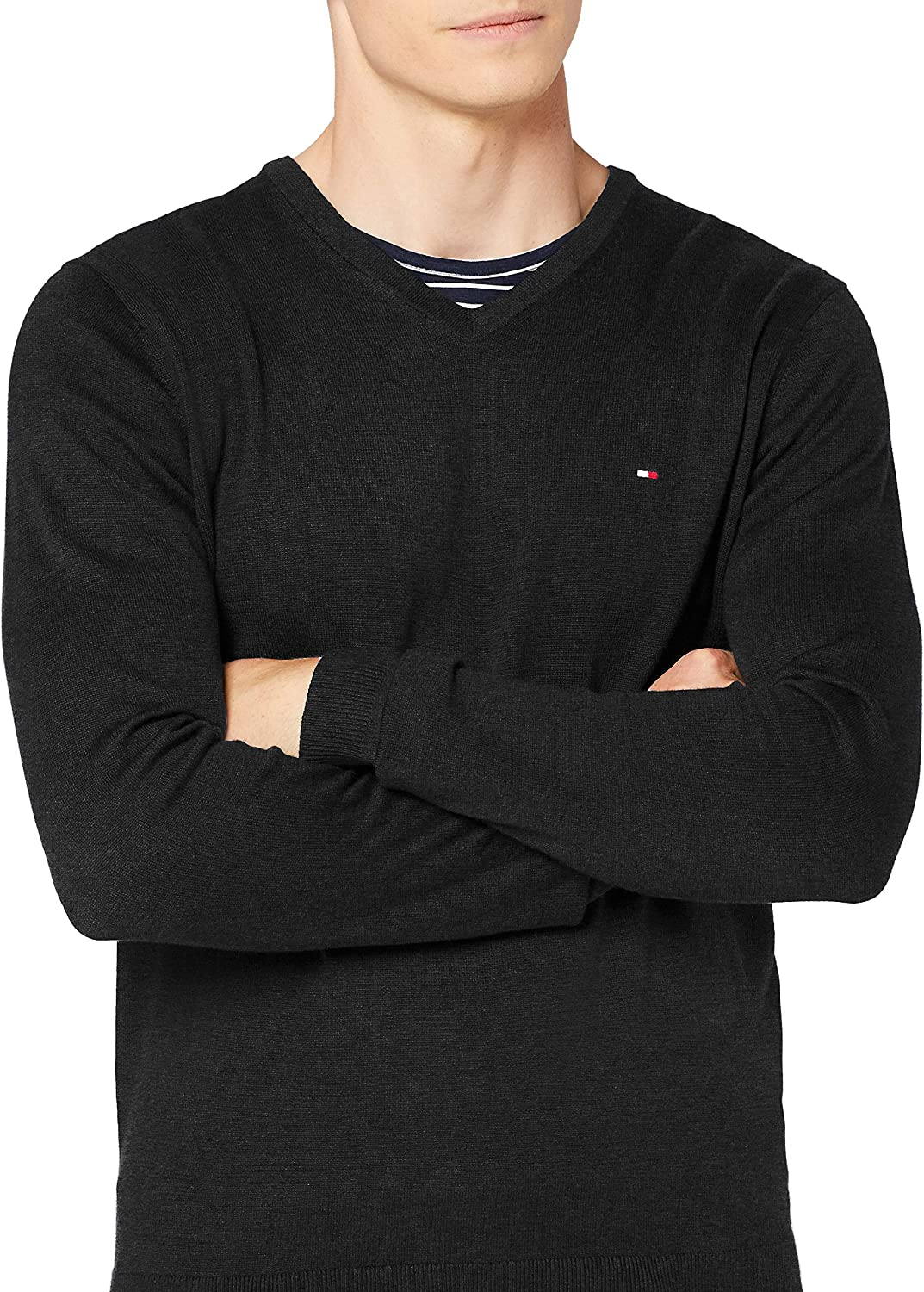 Tommy Hilfiger Core Cotton-Silk Vneck Felpa Uomo