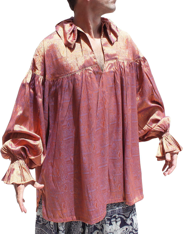 Svenine European Poets Collar Long Sleeve Medieval Tied Collar Shirt