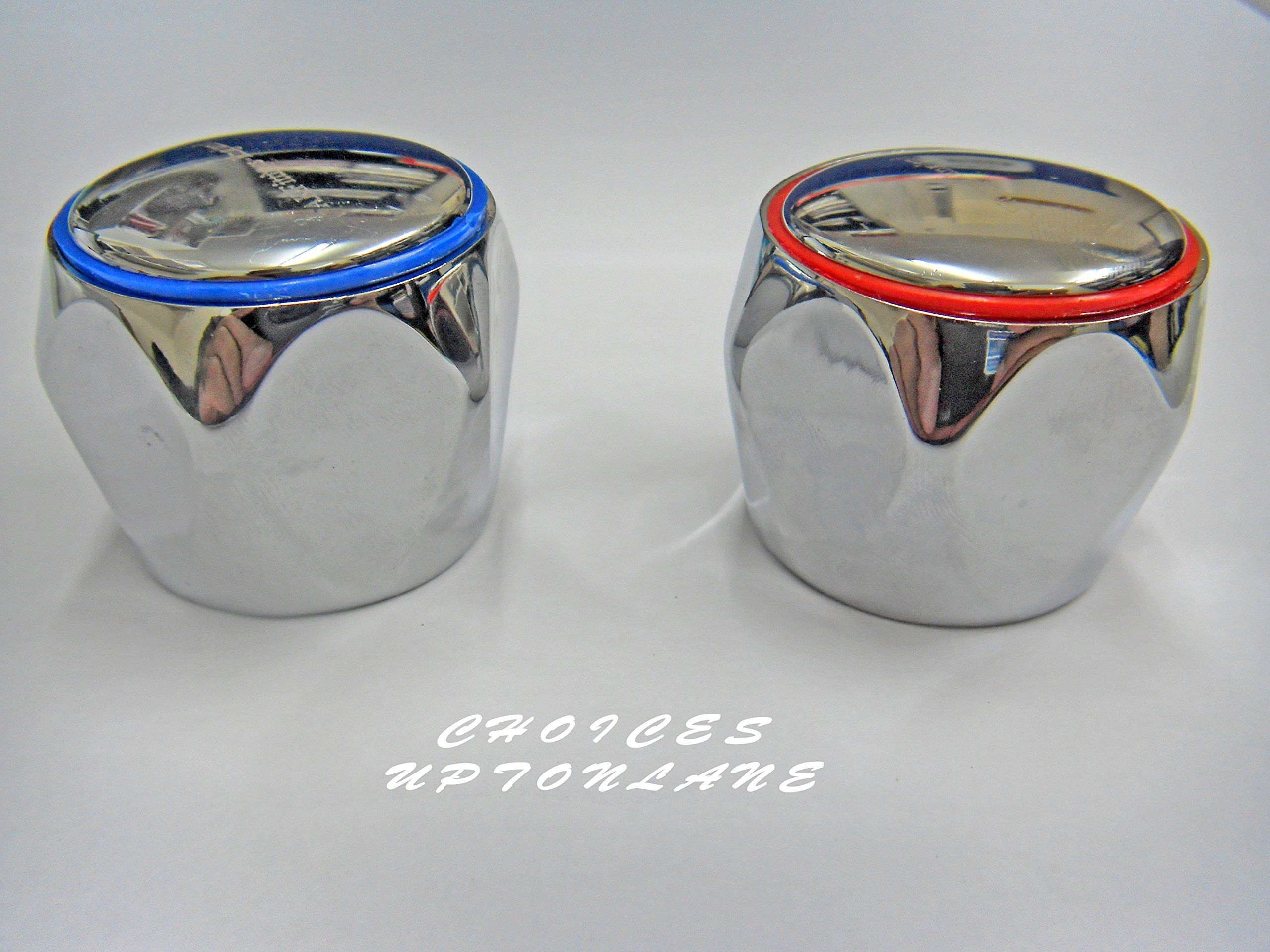 REPLACEMENT HOT & COLD TAP TOP HEAD COVERS CHROME PLATED FOR BASIN / BATH & KITCHEN SINK TAPS