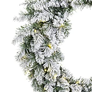Best Choice Products 24in Pre-Lit Indoor Cordless Artificial Snow Flocked Christmas Pine Wreath for Festive Home, Party Décor w/Hidden Battery Box, 50 White LED Lights, 6-Hour Timer - Green/White