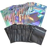 AlExuz - 100 bolsas resellables a prueba de olor, bolsas holográficas de 10 x 15 cm y negro mate de 7.6 x 10 cm, bolsas ziplo