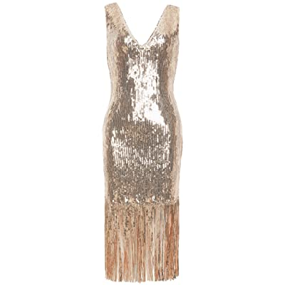 Coucoland 1920s Gatsby V Neck Sequin Dress Bodycon Flapper Dress Stretchy Dress: Clothing