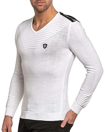 66d25693872e4 BLZ Jeans - Pullover Homme Blanc col V Fashion - Couleur  Blanc - Taille
