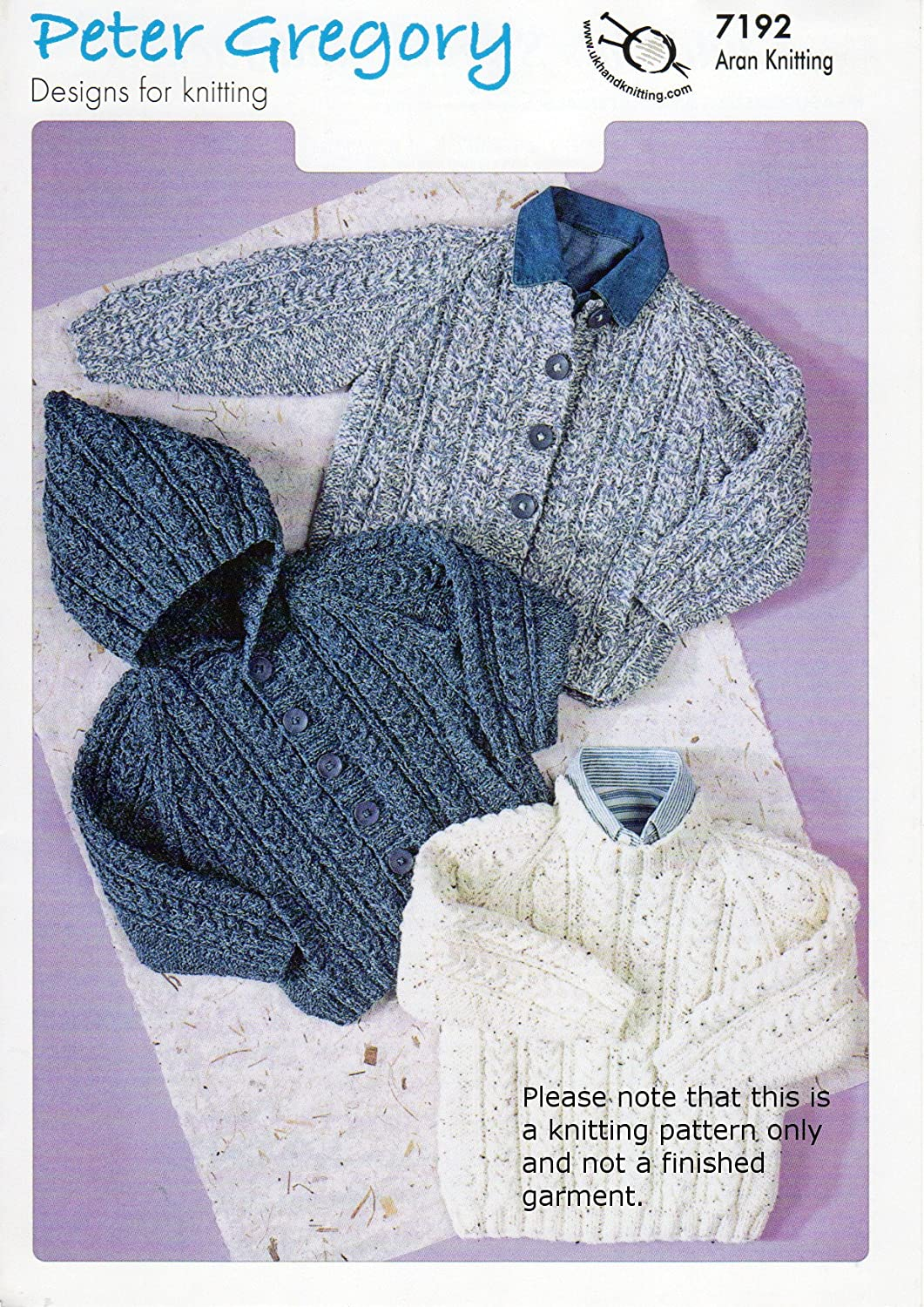 Aran Knitting Pattern for Childs Hooded Sweater Jackets 20\