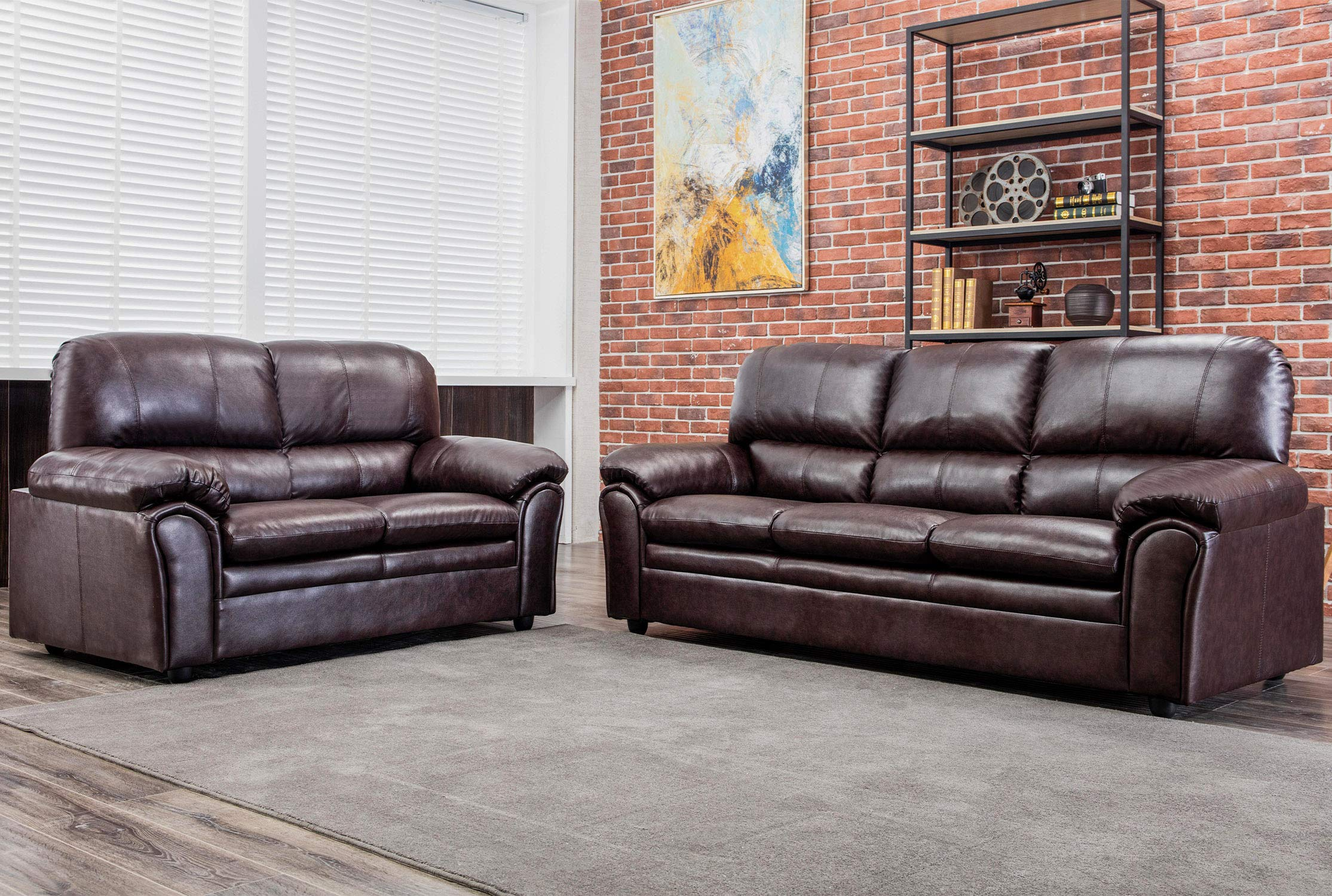 FDW Sofa Set Sectional Sofa for Living Room Couch and Sofas PU Leather Loveseat Sofa Contemporary Modern Sofa for Home Furniture 3 Seat Futon, Brown by FDW