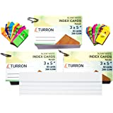 Turron Set of 3, Ruled Big 3 x 5 inch Ringed (Detachable) Blank White Index Flash Cards (50 Cards per Set, 200 GSM) for Short Notes with Free Bookmarks (20 Bookmarks, 10 Assorted Colours)
