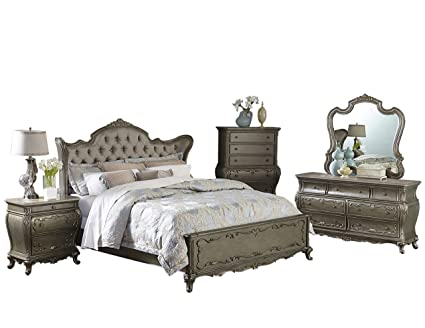 Farah 4 Piece California King Bedroom Set In Rich Silver With Gold Underton  Finish