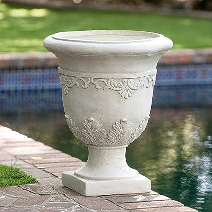 Amazon white indooroutdoor antique inspired quartz stone urn white indooroutdoor antique inspired quartz stone urn planter workwithnaturefo