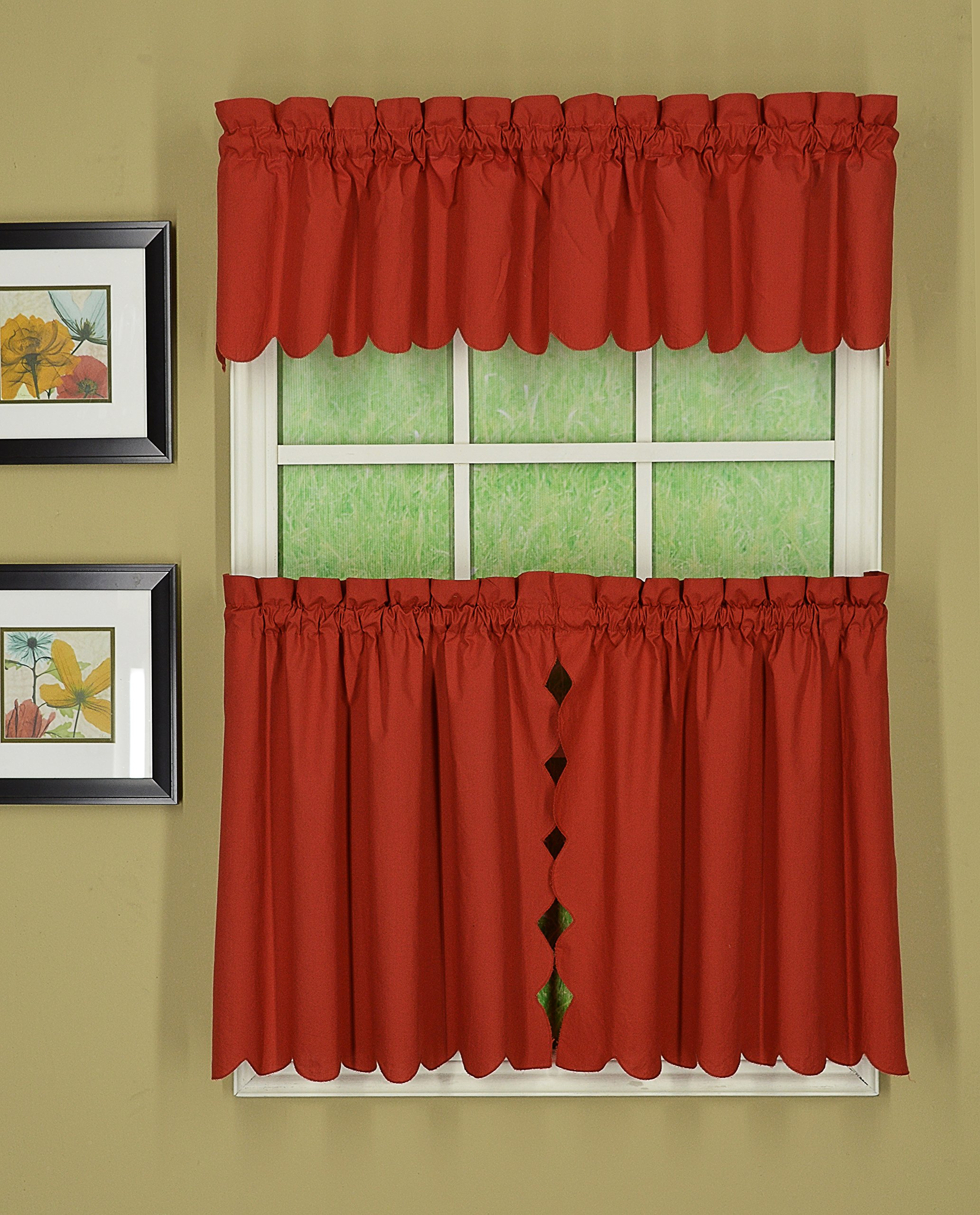 Today's Curtain CA2003K Orleans 24'' Tier Pair Tambour Scallop Edge Curtain, Brick Red, 60'' W x 24'' L